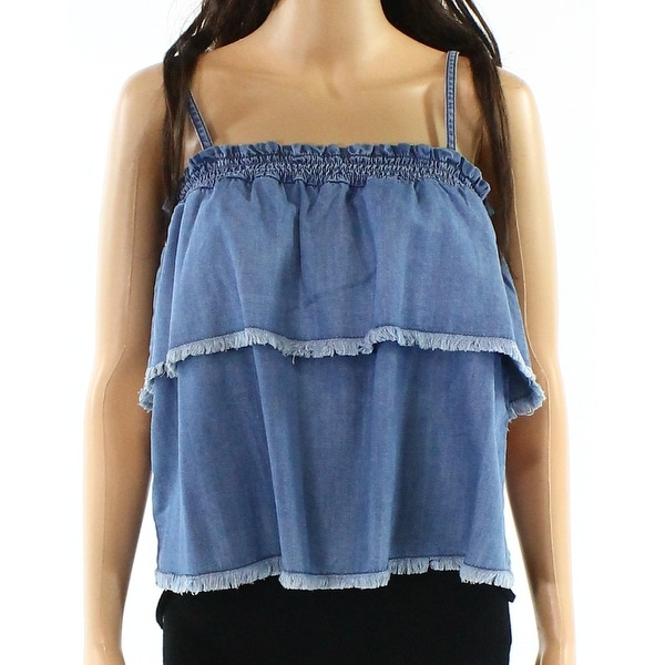 25525e58a8d8f9 Shop Abound Dawn Blue Womens Size Medium M Tiered Frayed Tank Knit Top -  Free Shipping On Orders Over  45 - Overstock.com - 22129412