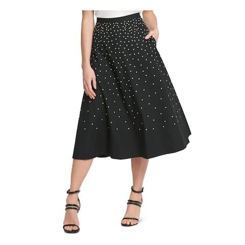 DKNY Womens Black Floral Midi A-Line Skirt Size 10