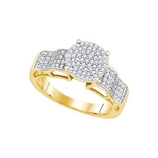 3/8Ctw Diamond Micro-Pave Bridal Engagement Ring 10K Yellow-Gold