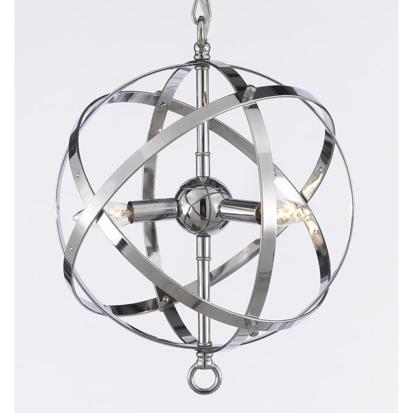 Foucault's Orb Chandelier Lighting Chrome Finish