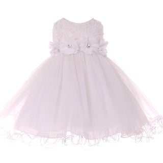 Baby Girls White Sparkle Jewel Flower Adorned Special Occasion Dress