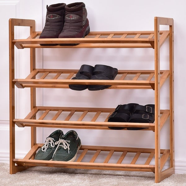 Costway 4 Tier Bamboo Shoe Rack Entryway Shelf Holder Storage Organizer