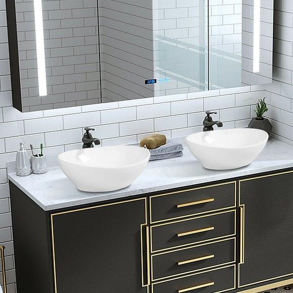 Costway Oval Bathroom Basin Ceramic Vessel Sink Bowl Vanity Porcelain -  Overstock - 18004756