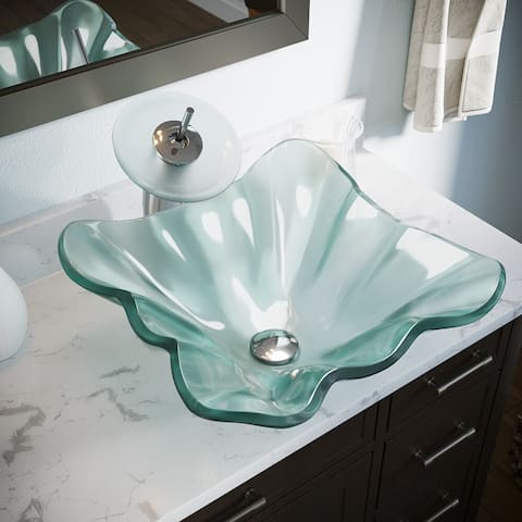 611 Frosted Glass Sink, Chrome Faucet, Sink Ring, Pop-up Drain