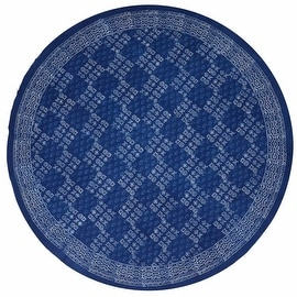 "Handmade 100% Cotton Hand Block Print Dabu Tablecloth 90"" Round Indigo Blue"