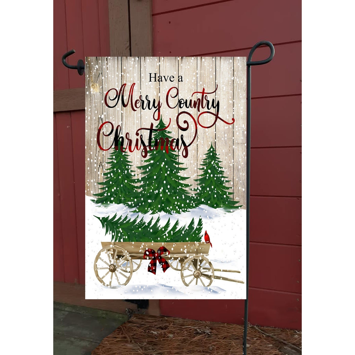 Vibrant Merry Country Christmas Decorative Rectangular Garden Flag 18 X 12 Overstock 32211217