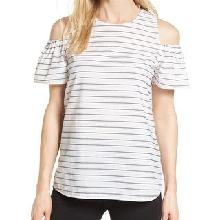 Nordstrom Collection White Women's XS Striped Cold Shoulder Blouse