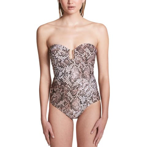 Calvin Klein Womens Chameleon Hardware Bandeau One-Piece Swimsuit 14 Nectar