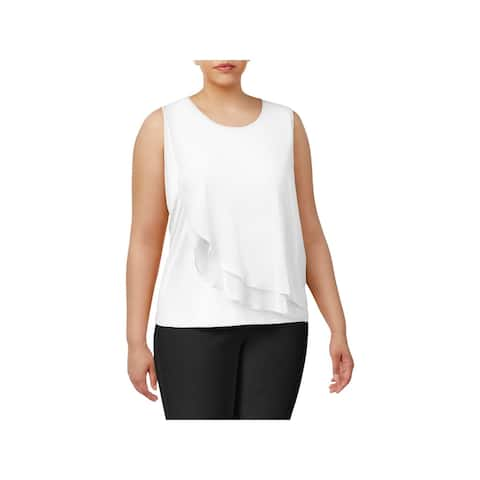 Calvin Klein Womens Plus Casual Top Layered Scoop Neck