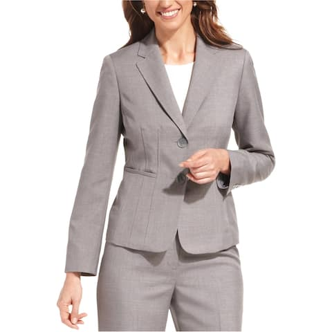 Kasper Womens Seamed Notched Two Button Blazer Jacket, grey, 14