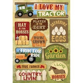 I Love My Tractor - Cardstock Stickers