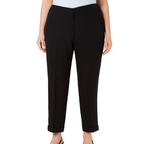 Kasper Womens Dress Pants Black Size 18W Plus Slim Leg Cuffed Stretch