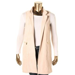Calvin Klein Womens Casual Vest Faux Suede Open Front