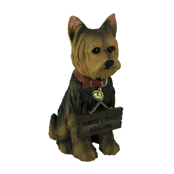 Yorkie Dog with Double Sided Sign Indoor/Outdoor Statue - 12.5 X 8.5 X 4.5 inches