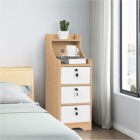 End Table Bedroom Nightstand Coffee Table 3 Drawer With Lock Cabinet