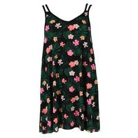 5 More Minutes Women's Plus Size Hibiscus Print Dress Cover Up