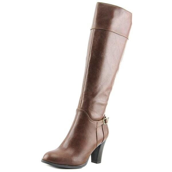 Giani Bernini Boelyn Women Round Toe Leather Brown Knee High Boot