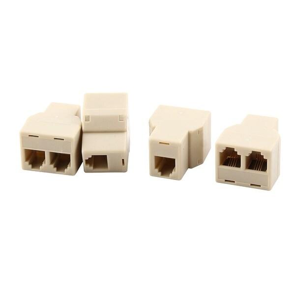 Plastic RJ11 6P4C 1 to 2 Female Phone Cable Line Cord Connector Splitter 4 Pcs