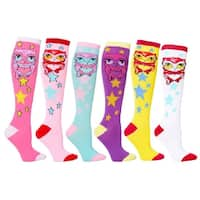 Owl Mixed Women's Fashion/Stylish Colorful Patterned Knee High Socks 6-pack