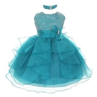 Baby Girls Teal Organza Rhinestuds Bow Sash Flower Girl Dress 6-24M