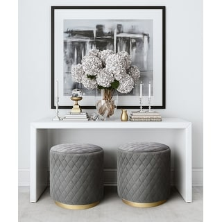 Link to Abir Grey Velvet Ottoman Similar Items in Ottomans & Storage Ottomans