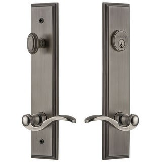 Grandeur CARBEL_TP_ESET_234_LH  Carre Solid Brass Tall Plate Single Cylinder Keyed Entry Set with Bellagio Lever and 2-3/4""