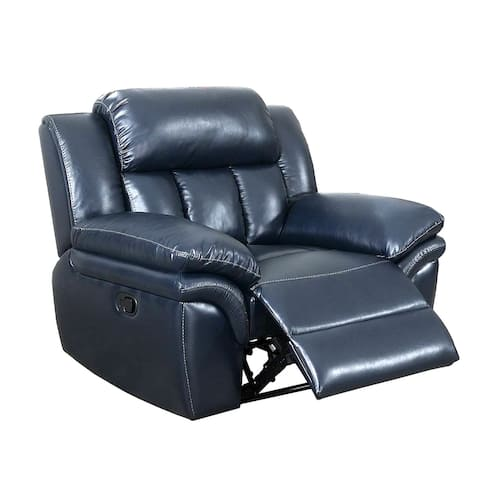 Leatherette Manual Recliner with Pillow Top Arms, Navy Blue