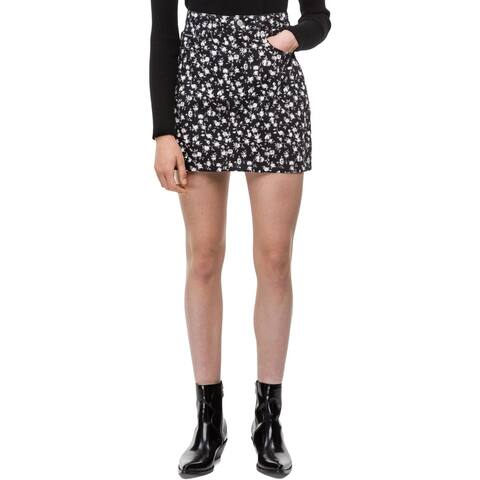 Calvin Klein Jeans Womens A-Line Skirt Denim Floral Print - 29