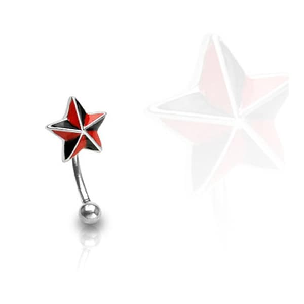 """Surgical Steel Curve Eyebrow with Black and Red Star - 16GA 3/8"""" Long (Sold Ind.)"""