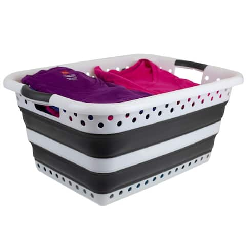 Collapsible Laundry Basket, Grey