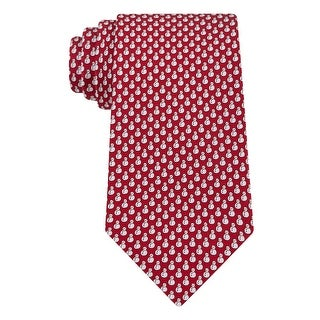 Tommy Hilfiger Holiday Snowman Print Classic Silk Tie Necktie Red and White