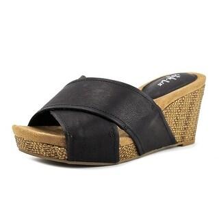 Style & Co Jilleep Women Open Toe Leather Black Wedge Heel