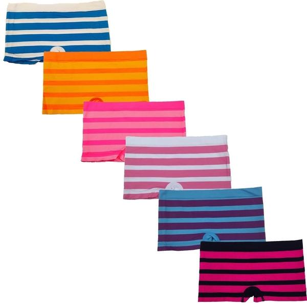 Women's 6 Pack Seamless Multi Stripes Boyshorts Panties