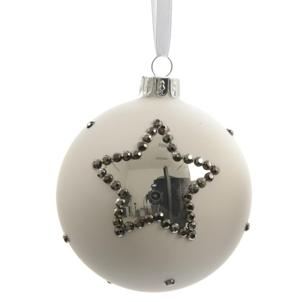 "Set of 3 Winter Light White with Silver Stars Glass Christmas Ball Ornaments 3"" (80mm)"