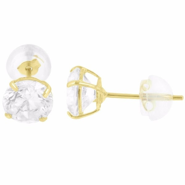 10k Yellow Gold Round Cut Stud Earrings Clear Lab Diamonds Basket Setting