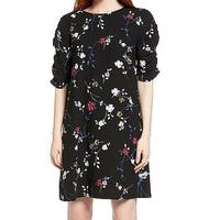 Halogen Black Womens Size XS Ruched Sleeve Floral Shift Dress