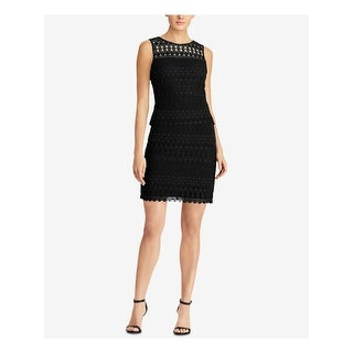 Link to RALPH LAUREN Navy Sleeveless Above The Knee Sheath Dress  Size 2 Similar Items in Dresses