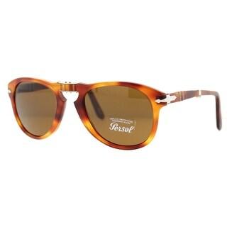 PERSOL Oval PO 649 Unisex 24/51 Light Havana Brown Sunglasses - 54mm-20mm-135mm
