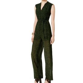 Michael Kors NEW Green Women's Size Large L Wide Leg Belted Jumpsuit