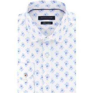 Tommy Hilfiger Mens Dress Shirt Slim-Fit Floral - Dutch BLue - 15 32/33