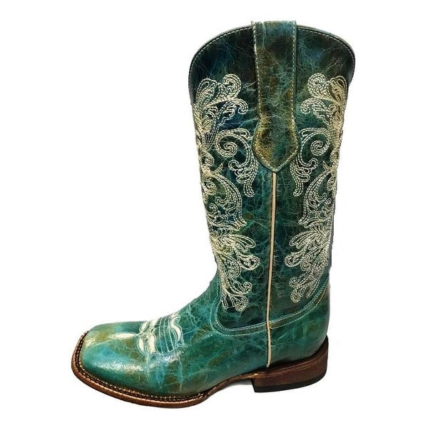 ab82b6a759e Ferrini Western Boots Womens Southern Charm Square Turquoise