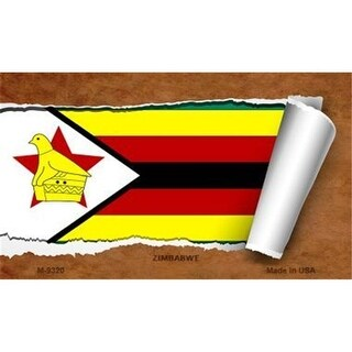 Smart Blonde M-9320 Zimbabwe Flag Scroll Novelty Metal Magnet