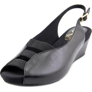 J. Renee Wendel Open Toe Leather Wedge Heel