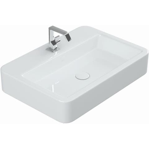 "WS Bath Collections Contour 61060 Contour 23-3/5"" Ceramic Single Hole Wall Mounted or - Gloss White"