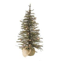 2' Pre-Lit Warsaw Twig Artificial Christmas Tree in Burlap Base - Clear Lights - brown