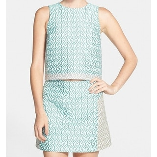 TopShop NEW Green Womens Size 4 Colorblocked Jacquard Textured Tank Top