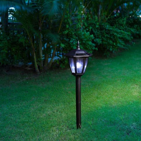 """Glitzhome 25.5""""H Multi-functional Solar powered LED light with ground stake and mounting pole - Black"""