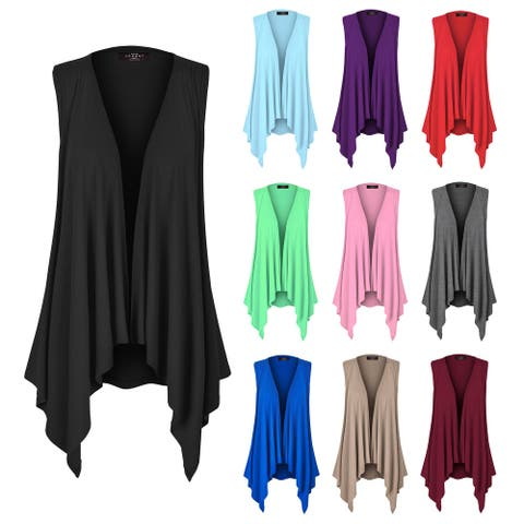 Women's Lightweight Sleeveless Solid Open Front Drape Vest Cardigan