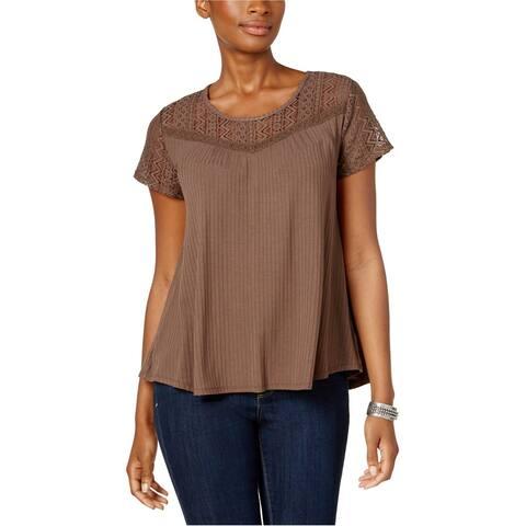 Style & Co. Womens Lace Yoke Basic T-Shirt, Brown, X-Small