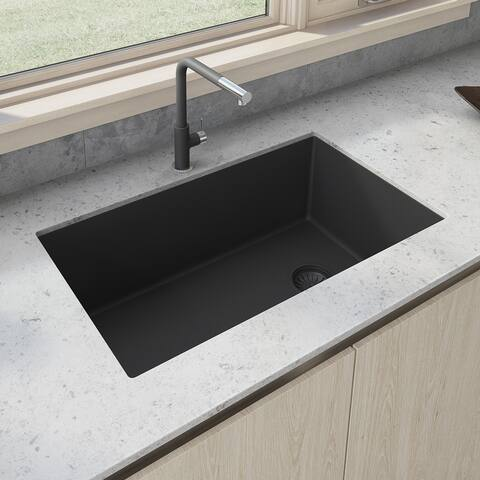 Ruvati 32 x 19 inch epiGranite Undermount Granite Composite Single Bowl Kitchen Sink - Midnight Black - RVG2033BK